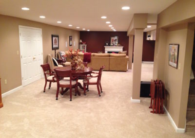 Finished basement entertaining area