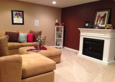 Finished basement living area
